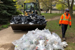 FM removes the waste and recycling collected during the annual Campus Cleanup